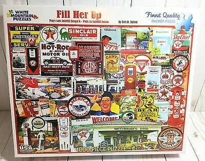Vintage Filler Up OIL & GAS 1000 Piece White Mountain Puzzle 2016 Made in USA