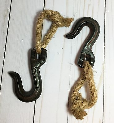 2 Antique Industrial Style Cast Iron (Metal Farm Tool) w/ Hook Sisel Rope