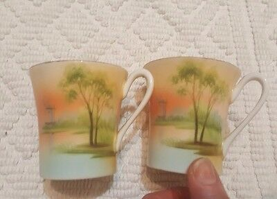 Vintage Miniature tea cups Tree/Lake/Windmill Scene, Orange Tones