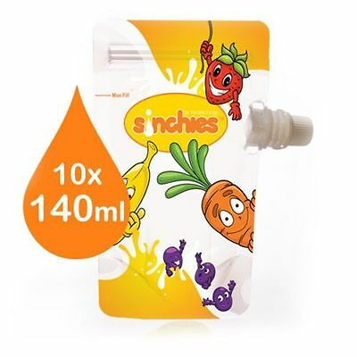 NEW Fun Sinchies 10 x 140ml reuseable food pouches + 1 litre pouch - BPA free
