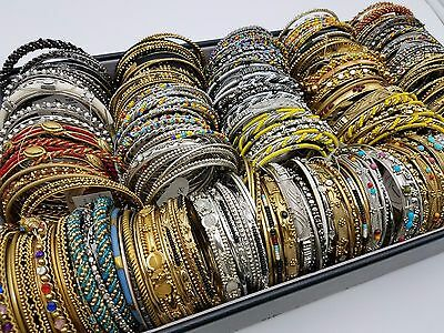 Estate Lot Bangles Bracelets Set Assorted Silver & Gold Beaded 32 Sets