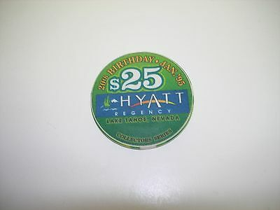 Hyatt Regency Lake Tahoe NV  $25 Casino Chip  OBSOLETE 20th Birthday