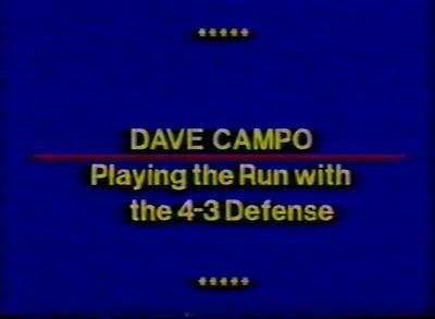 Football Coaching DVD -- Playing The Run With The 4-3 Defense -- Dave Campo