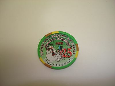 Tropicana Hotel Casino Las Vegas  NV  $25 Chip  Seasons Greetings 1998 UNC