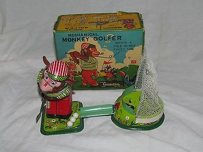 Vintage Monkey Golfer Tin Litho Wind Up Toy With Box Made In Japan Tps Cragston