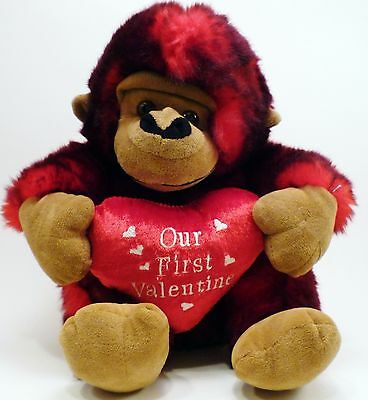 "Dan Dee Collector's Choice Gorilla Plush 10"" Our First Valentine Heart Red Black"