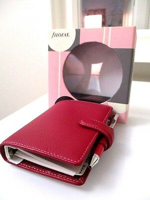Filofax Mini Classic Personal Leather Organiser gift Pack with pen Raseberry New