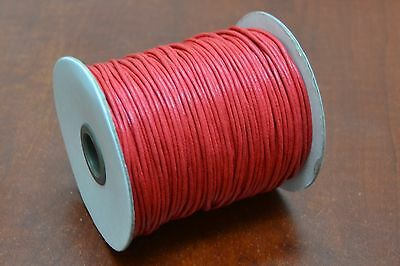 600 METERS RED WAXED COTTON BEADING CORD STRING ROLL 2MM #F-52I 6 ROLLS