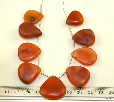 NG24 - Natural Quality Briolette Carnelian Gemstone Fan Beads - 25mm - 45g