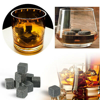 9 Pcs Whisky Ice Stones Wine Drinks Cooler Cubes Whiskey Rocks Granite Pouch AYK