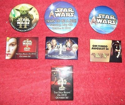 Lot of Star Wars Promotional Pins pinbacks episode I trilogy vhs train jedi