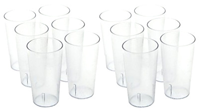 Plastic Tumbler ChefLand Stackable Break Resistant Durable 16 Oz Clear 12 Pieces