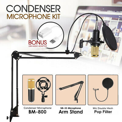 BM800 Condenser Microphone Kit Studio Suspension Boom Scissor Arm Stand Sound AU
