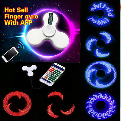 1/10X LED Hand Fidget Spinner Toy Smart APP Set Font Patern Custom-Made USB Port