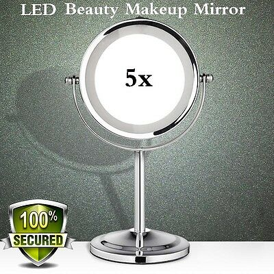 5x Beauty Makeup Cosmetic LED Light Mirror Illuminated Magnifying Stand Shaving