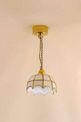 Tiffany ceiling light –White - LED - Battery Operated - 1/12th scale -