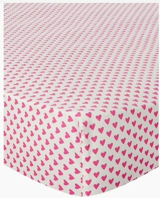 Kids Girls Fitted Sheet Pink Heart Fitted Sheet Single