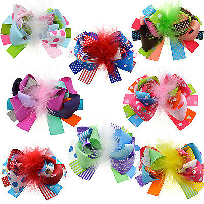 "Baby Girls 5"" Grosgrain Ribbon Boutique Hair Bows Alligator Clips Pack Of 8"