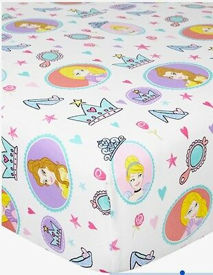 Kids Girls Single Fitted Sheet Disney Princess Belle Rupenzel Cinderella Bedding