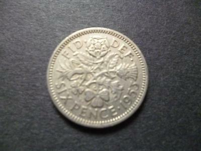 1953 English Sixpence Coin In Good Used Condition, 1953 Sixpence Coin Shown Sent