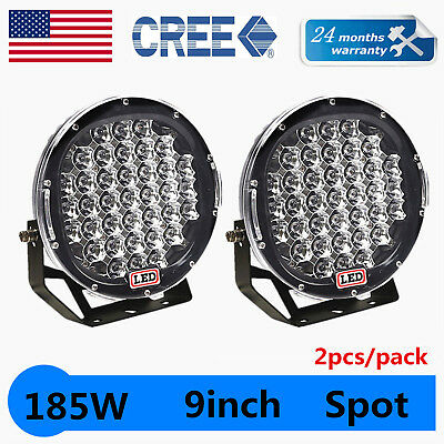 2pcs 9inch 185W Round LED Work Light Spot Truck Fog Headlamp Offroad Bumper CREE