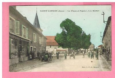 Cpa  -  Saint Lupicin  - 39 - La Place Et Magasin   L.f.a. Mermet -  Automobile