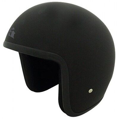 New Baron Lowest Profile Legal Open face Motorcycle Helmet Black Sizes XS - XL
