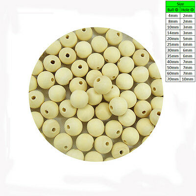 Natural Wooden Craft Balls Wood Beads Sphere with Hole Carpentry Dia 4mm to 70mm