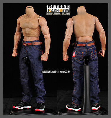 1/6th Male Classic Jeans Denim Man Pants F 12'' Muscular Body