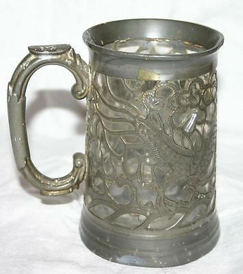 Unusual Vintage Glass and Pewter Tankard with Dragon engraving