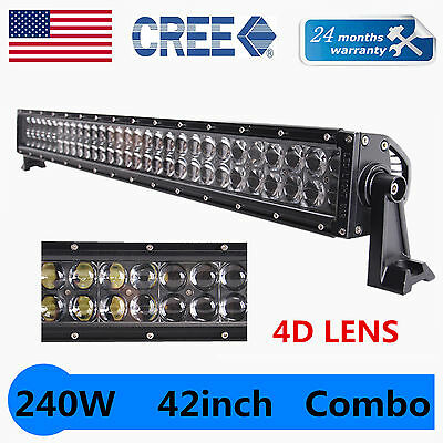 42inch 240W CREE LED Light Bar 4D Len Offroad Fog Driving Combo Truck Jeep Screw
