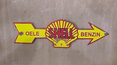 Porcelain Enamel Advertising  Oele Shell Benzin  Sign 8 X 27 Inch In