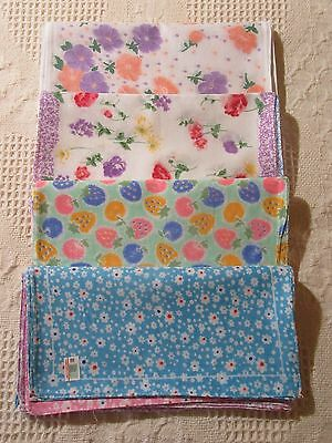 Ladies Cotton Handkerchiefs Assorted Floral Designs & Sizes 12 Pack