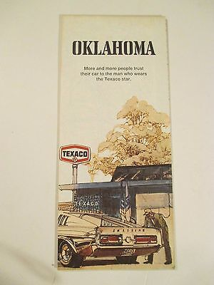Vintage 1971 TEXACO OKLAHOMA Oil Gas Service Station Road Map
