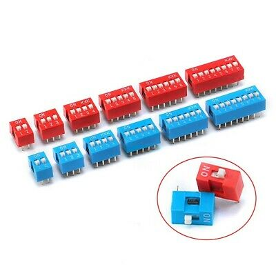 DIP DIL Toggle Switch Red Blue 1/2/3/4/5/6/7/8/9 Way Bits Position Pitch 2.54mm