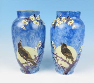 Large Pair Antique Opaline Glass Vase HP Birds Moon Victorian French or Bohemian