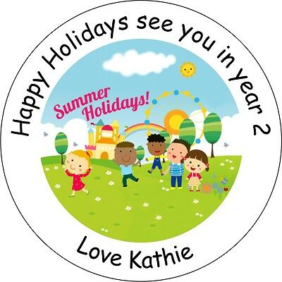 Up to 70 Stickers!!!  Personalised Happy Holiday teacher Thank You labels school