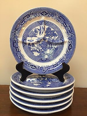 """Vintage Jackson Vitrified China  BLUE WILLOW 9 1/2"""" Grill Plate ~ Set of 6"""
