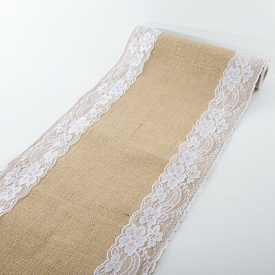 Rustic Jute Hessian Burlap Lace Table Runner Home Wedding Party Table Decoration