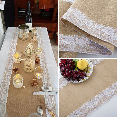 Hessian Burlap Ribbon Lace Rustic Wedding Party Decoration Centre Table Runner