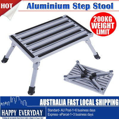 Folding Aluminium Step Stool Caravan Camper 2000kg Camping Portable Ladder Tool