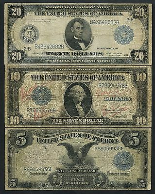 -- Raised Notes -- (3) Different $5, $10, $20 Very Rare Wlm3634