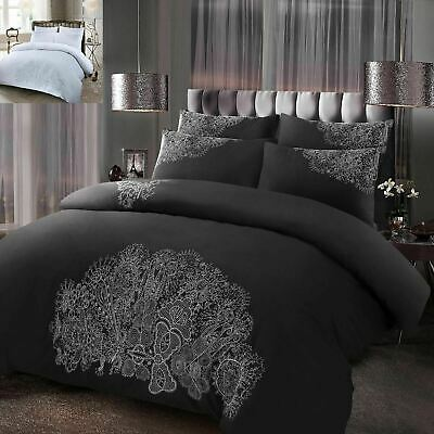 Antalia Luxury Floral Embroidered Quilt Duvet Cover Bedding Set Curtains Cushion