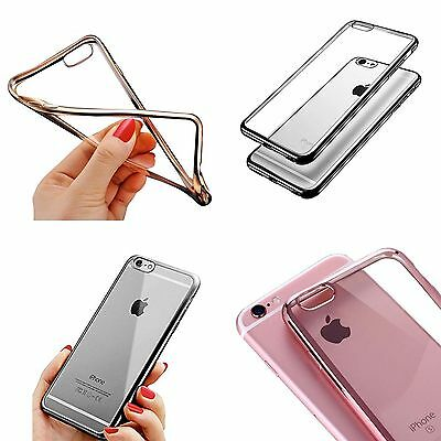New Ultra-Thin Metal Finish Electroplating Soft Gel Tpu Silicone Case For iPhone