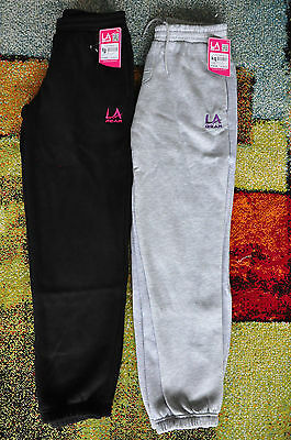LA GEAR Girls Boys fleece track suit tracksuit pants BLACK GREY Size 10 12 13 14
