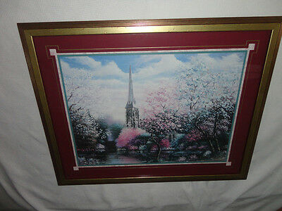 Home Interiors Large ''Pink Flowers & Church ''Picture  30.5''x 24.5'' Gorgeous