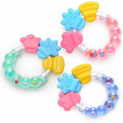 Colorful Baby Toddler Infant Teether Chew Toy Molar Rod Handbell Jingle Toy Gift