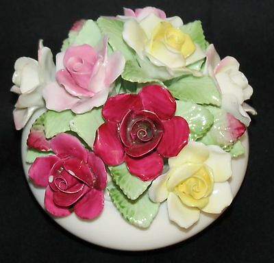 Royal Doulton England Footed Bone China Floral Rose Bouquet
