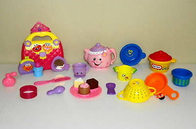 LOT Fisher-Price Laugh & Learn Tea Set Zoe Baby's Purse Little Tikes Play Dishes