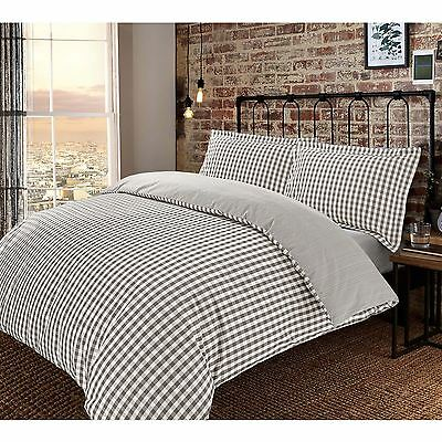 Check Yarn Dyed 100% Cotton T200 Duvet Cover Set Reversible Quality Modern Warm